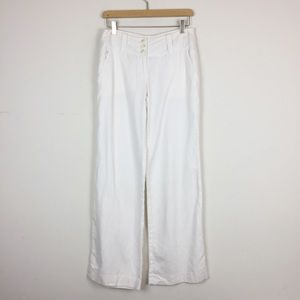 Michael Kors white linen wide leg pants minimalist